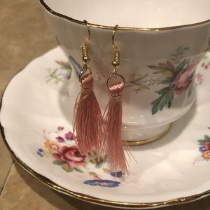 Pink fringe earrings. NWOT